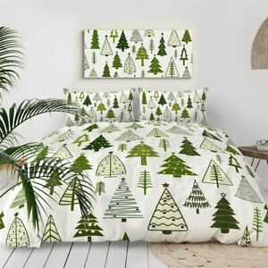 Green Christmas Tree Nature King Queen Twin Quilt Duvet Pillow Cover Bed Set