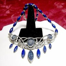 CAROLYN POLLACK DENIM & DRUSY 925 STERLING SILVER LAPIS LAZULI NECKLACE RARE