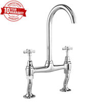 Kitchen Sink Bridge Mixer Tap Cross Head Handles Traditional Chrome Finish