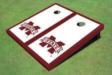 "Mississippi State University ""M"" Maroon Matching Border Custom Cornhole Board"