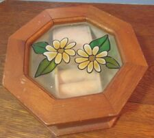 Vintage wood octagon  Jewelry /Music box.daisies flowers