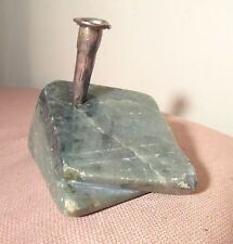original 1998 handmade DJ Kennedy sterling silver jade stone desk pen holder 2