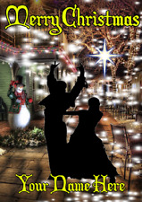 Paso Doble Street Dancing nxc84 Merry Christmas Personalised a5 Greeting Card