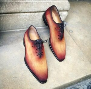 Men's Handmade Leather Cognac Suede Patina Oxfords, Luxury Men's Leather Shoes