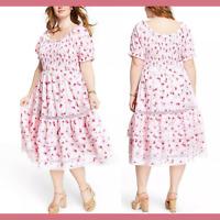 NWT LoveShackFancy Target Cosette Smocked Puff Sleeve Dress [ PLUS SZ 1X ] E978