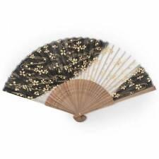 Japanse Vouwen Fan - Zwarte Kersen Bloesem Silk & Bamboedocument Oriental Fan