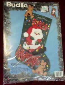 "Bucilla Santa Christmas Felt Stocking Kit 83203 Applique Bah Humbug 18"""