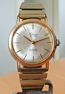 Vintage Felicia Deluxe GP, silver dial Swiss made watch 21j manual wind.