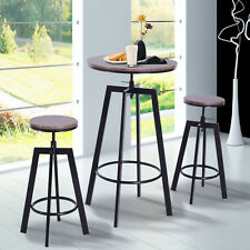 3pcs Bar Table Set Round Dining Table 2 Steel Pub Chair Height Adjustable