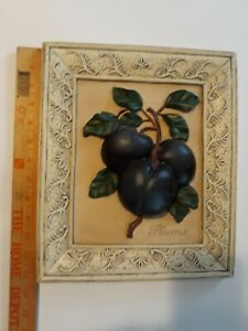 """⭐ Gorgeous Heavy 3D Picture Of Plums 12.5"""" Deciline New York Hand Painted (N3)"""