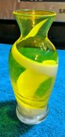 VINTAGE MID CENTURY MODERN ITALIAN HAND BLOWN YELLOW SWIRL ART GLASS BUD VASE