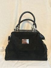 "GIANNI VERSACE ""Key"" BLACK patent leather And Sculpted Fur Handbag MSRP $2,890"