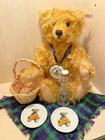 STEIFF Mohair PICNIC Teddy Bear W/ Basket Plates Bottle Blanket 420108 LE Club