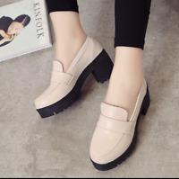 Lolita Gothic Women Mid Block Heels Round Toe Cosplay Japanese Mary Jane Shoes