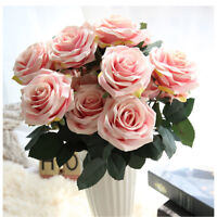 10 Head Silk Fake Rose Artificial Flower Floral Bunch Wedding Party Home Decor