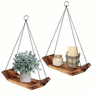 Modern Living Wood Floating Shelves -Set of 2 Solid Wooden Hanging Shelves Decor