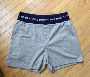 Men's VINTAGE Polo Sport Ralph Lauren  Shorts Trunks large soft grey cotton 90s