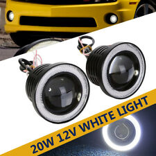 "2X 3.5"" LED Car Fog Light White 12V Angel Eyes Standlichtringe Driving Head Lamp"