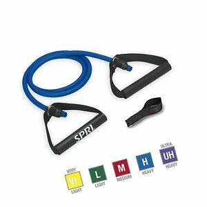 SPRI Xertube Resistance Bands Exercise Cords w/Door Attachment, Blue, Heavy