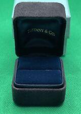 "Tiffany & Co. Black Suede Empty Presentation Ring Box Blue Outer Box 2""x2 1/4"""