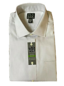JOS A Bank | Traveler Tailored Fit | Size 17 1/2 35 | Gray | Cotton No Wrinkles