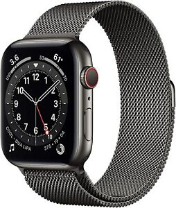 Apple Watch Series 6 44mm Case with Milanese Loop - Graphite Stainless Steel