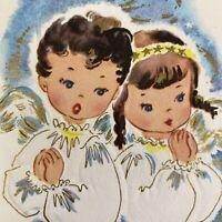 Vintage Mid Century Christmas Greeting Card Cute Praying Angel Children Blue