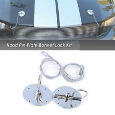 New Universal Racing Silver Stainless Steel Decor Hood Pin Plate Bonnet Lock