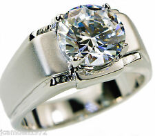 5.0 carat cz Solitaire mens ring Platinum overlay size 9