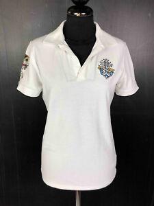 ICEBERG ICE Polo Maglietta T-Shirt Donna Cotone Bianco con Toppe Sz.S - 42