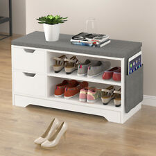 Storage Bench Storage Hall Wooden Shoe Cabinet with Drawers 2 Level Shoe Storage