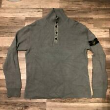 RARE Vintage Stone Island Italy Wool 1/4 Button Up Gray Sweater Mens 2XL