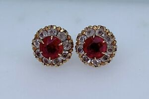 VTG BDA 10k Yellow Gold & Ruby Red Clear Crystal Screw Back Earrings 1.51g #yaq