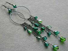Vintage Green Glass Beads, Swarovski Crystal & Oxidised 925 Silver Long Earrings