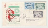 STORIA POSTALE - 1961 REPUBBLICA GRONCHI 3 VALORI SU FD X CITTA' Z/9730