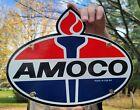 VINTAGE OLD DATED '64 AMOCO STANDARD GASOINE OIL PORCELAIN ENAMEL GAS PUMP SIGN
