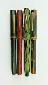4 Vintage Calligraphy Pens Red Green Brown Marbelized