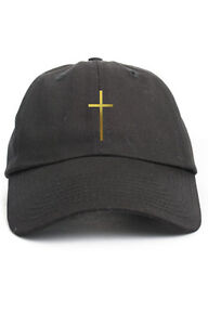 Cross Custom Unstructured Dad Hat Cap Christian Religion New-Black w/ Gold