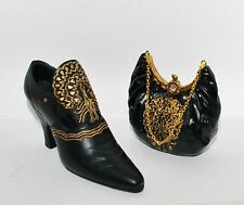 Jc Penney Vintage Black Gold Victorian High Heel Shoe Handbag Purse Ornament