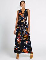 New M&S Collection Black Floral Flare Belted Maxi Dress Sz UK 22 Reg & 14 Long