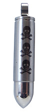 BULLET with SKULLS PENDANT Stainless Steel 48mm Drop Gothic