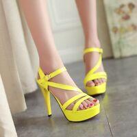 Women Summer Candy Color Sandals Hot Platform Ankle Strap Buckle High Heel Shoes