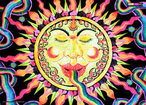 UV BACKDROP Black Light Fluorescent Glow Psychedelic Art Banner Goa Trance Deco