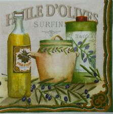 HUILE D' OLIVES 2 individual paper napkins for decoupage lunch size 3-ply