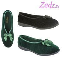 Ladies Glamorous Bow Full Slippers - Black Green Sparkle Velour Size 3 4 5 6 7 8