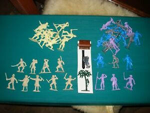 Large assortment of 60 mm plastic pirate figures -- Marx, Charbens, cannon