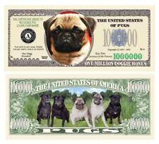 Set of 5 - Pug Dog Million Dollar Bill