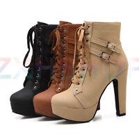 Gr.33-43 Damen Punk Schnürer Ankle Boots Blockabsatz Platform Bikerstiefel