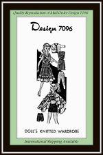 Craft 11½ DOLL KNITTED Vtg Pattern Design 7096 BIKINI SHORTS, and More WARDROBE
