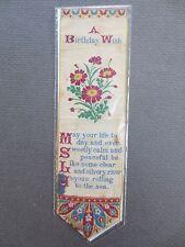 Antique BOOKMARK Woven Silk Stevengraph E Bollans Leamington A Birthday Wish